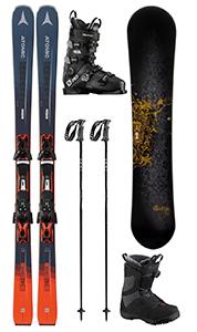 D 15: Set Basic Ski/Board Erwachsene, inkl. Ski, Board, Schuhe, Stöcke
