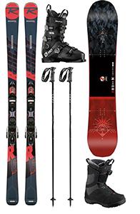 D 16: Set Top Ski/Board Erwachsene, inkl. Ski, Board, Schuhe, Stöcke